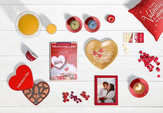 Flache lage des valentinstagkonzeptes
