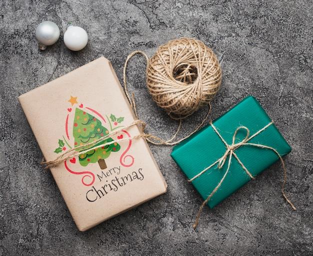 Flache lage des weihnachtskonzeptmodells
