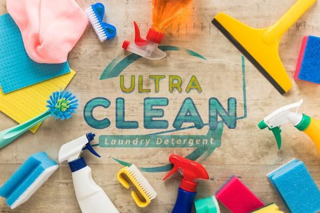 Flache laien bunte reinigungsdienstausrüstung