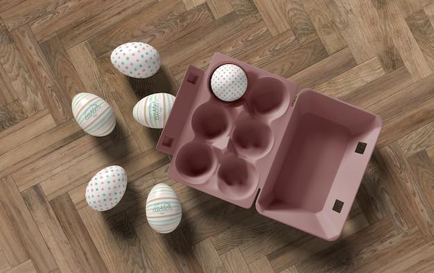 Flache schalungseier mit eiern legen