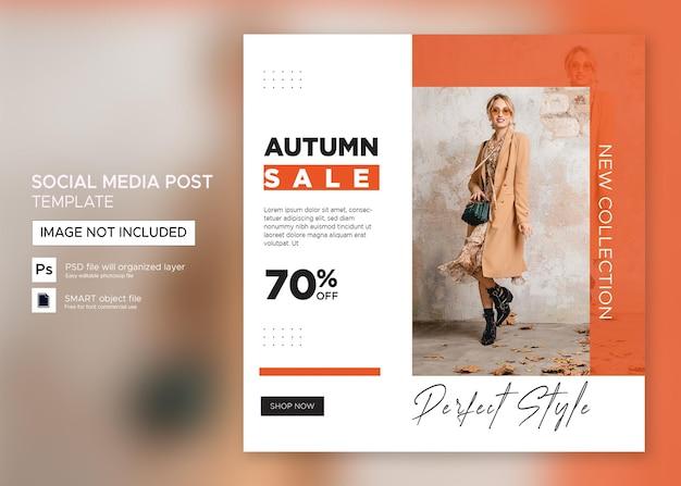 Flacher instagram-flyer für kleidungsverkauf-post-vorlage premium psd