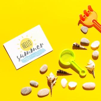 Flaches lagepapier-kartenmodell mit sommerelementen
