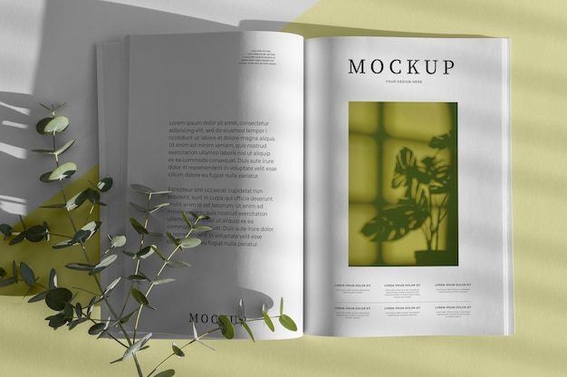Flaches laien-naturmagazin-cover-modell mit blattzusammensetzung