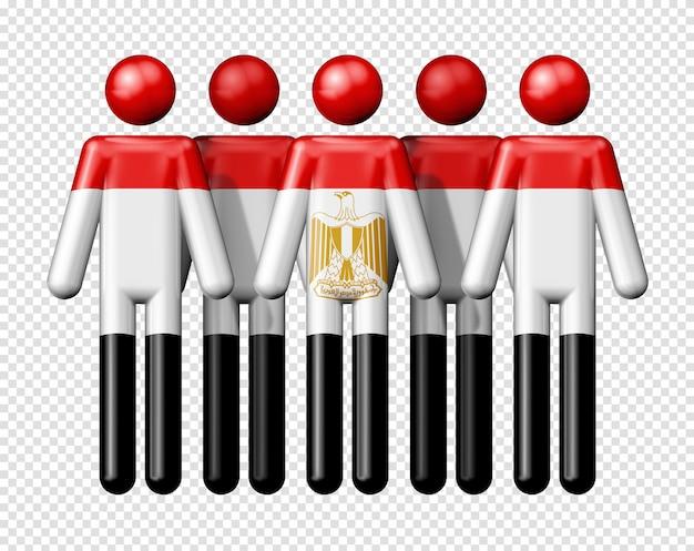 Flagge ägyptens auf strichmännchen