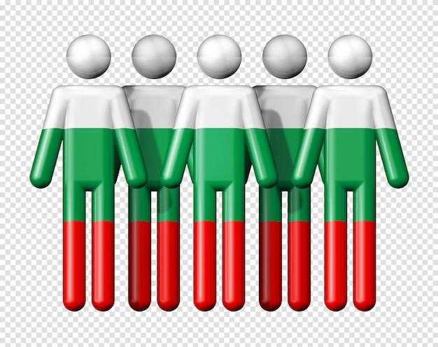 Flagge bulgariens auf strichmännchen