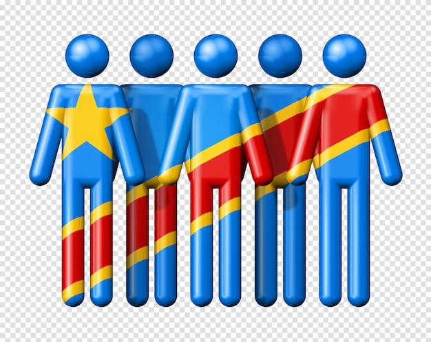 Flagge der demokratischen republik kongo auf strichmännchen