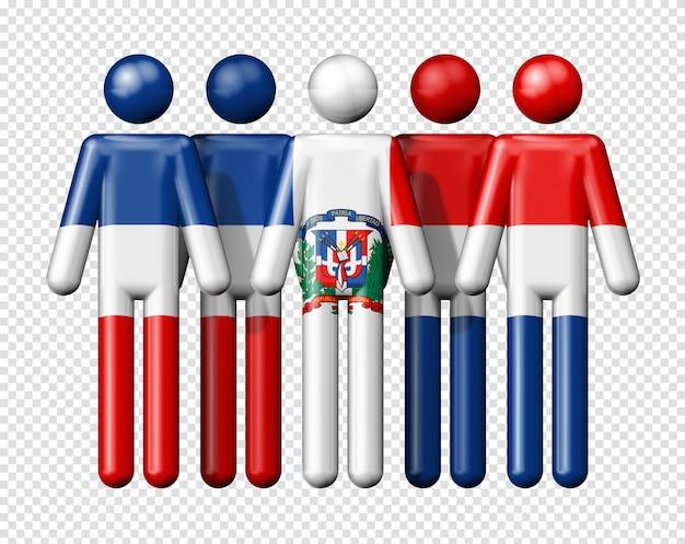 Flagge der dominikanischen republik auf strichmännchen