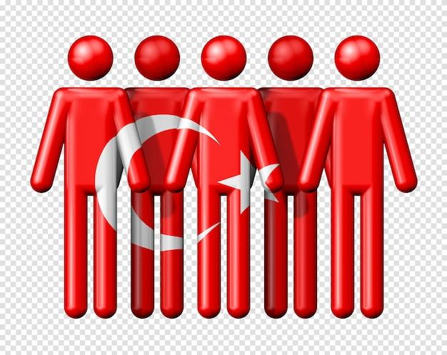Flagge der türkei auf strichmännchen