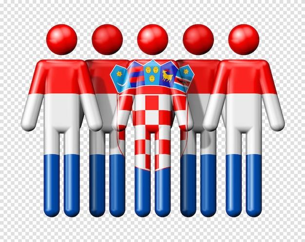 Flagge kroatiens auf strichmännchen