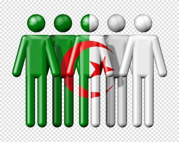 Flagge von algerien auf strichmännchen