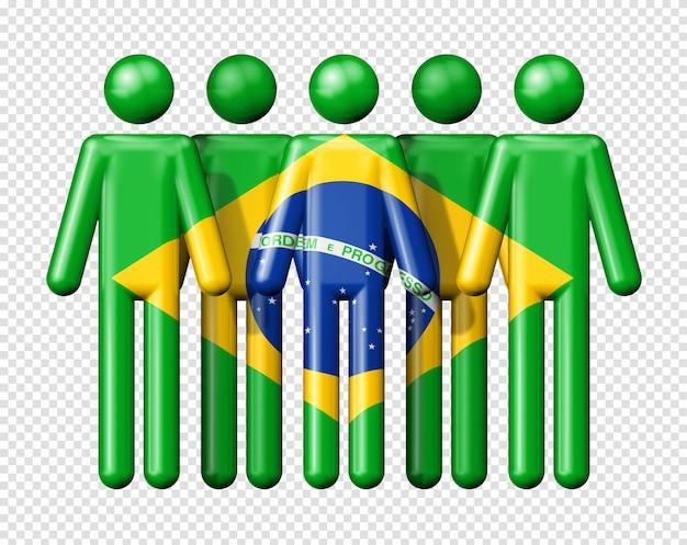 Flagge von brasilien auf strichmännchen