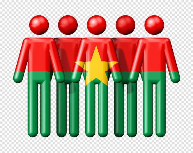 Flagge von burkina faso auf strichmännchen