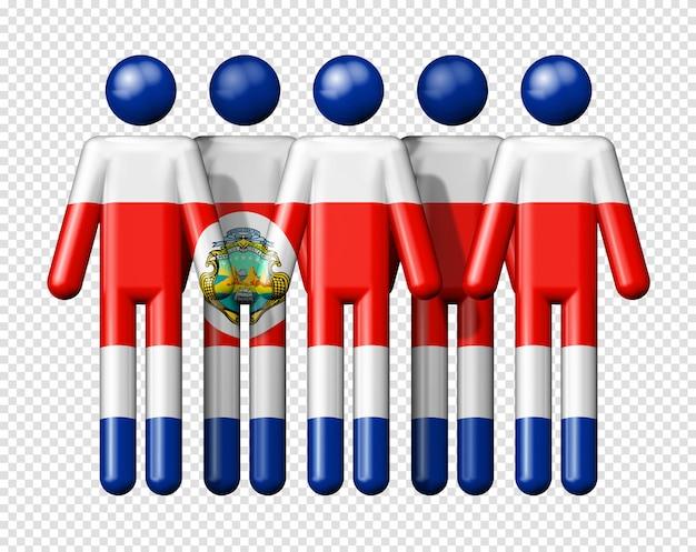 Flagge von costa rica auf strichmännchen