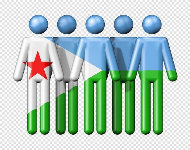 Flagge von dschibuti auf strichmännchen