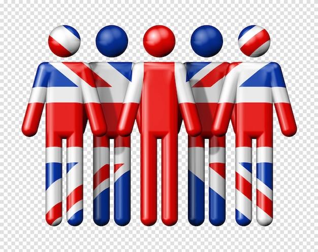 Flagge von großbritannien, großbritannien auf strichmännchen