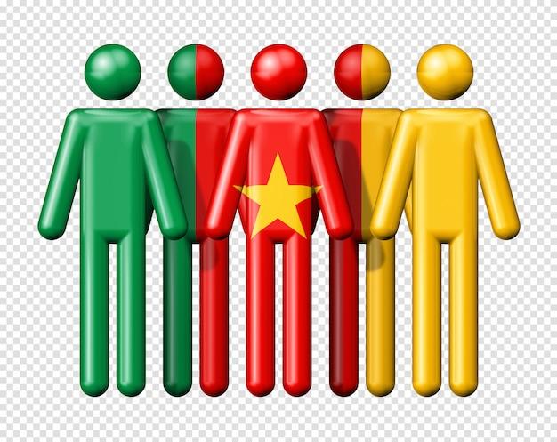 Flagge von kamerun auf strichmännchen