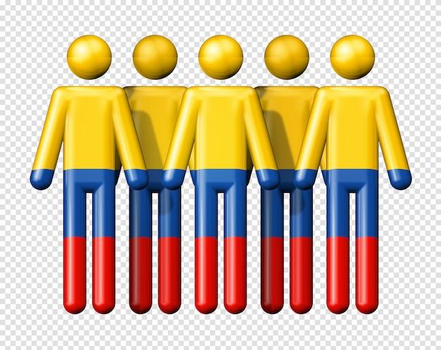 Flagge von kolumbien auf strichmännchen