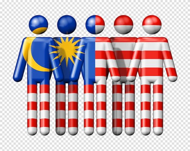 Flagge von malaysia auf strichmännchen