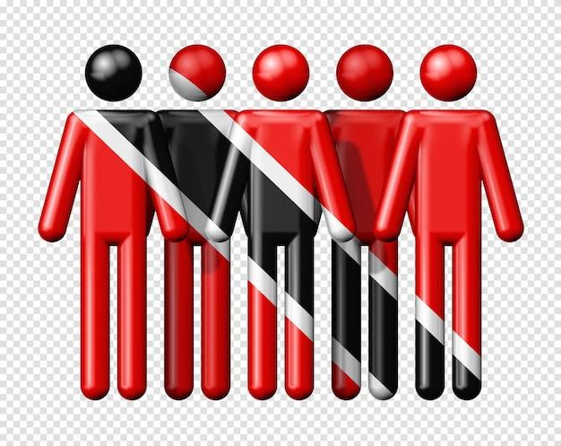 Flagge von trinidad und tobago auf strichmännchen