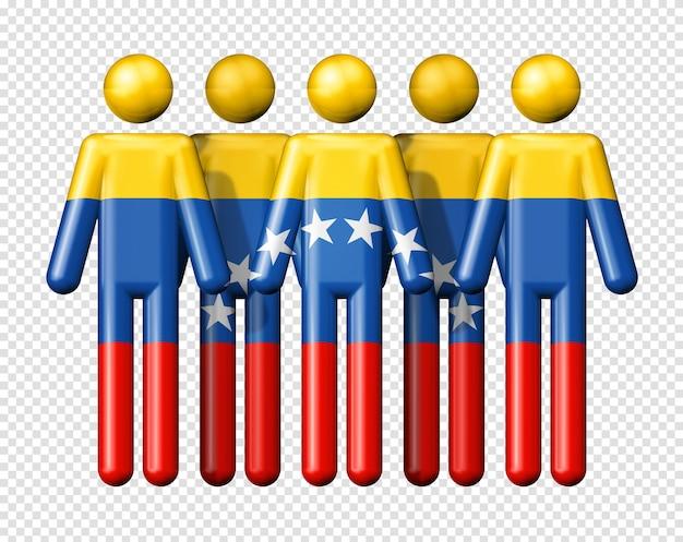 Flagge von venezuela auf strichmännchen