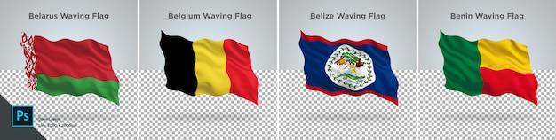Flaggensatz von weißrussland, belgien, belize, benin-flagge eingestellt auf transparentes