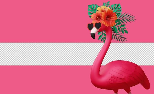 Flamingo mit blumen und blättern, sommersaison, sommer 3d-rendering summer