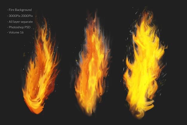Flamme des feuers mit funken auf schwarzem