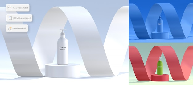 Flasche lotion auf podium modell