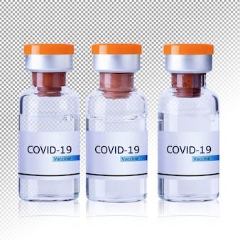 Flaschenfläschchen mit covid19 coronavirus-impfstoff isoliert