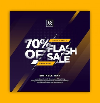 Flash sale text effect instagram sozialmedienvorlage