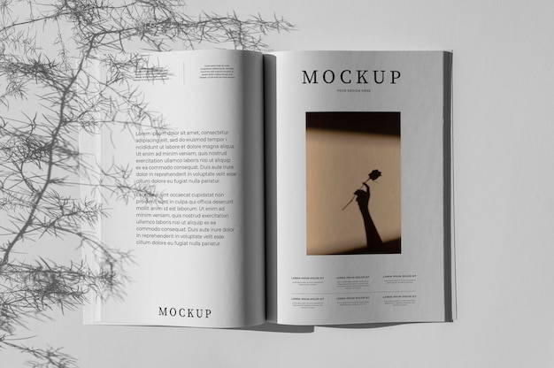 Flat-lay-naturmagazin-cover-modell mit blattsortiment