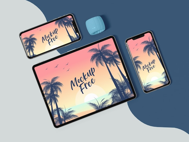Flat lay tablet und telefon anordnung
