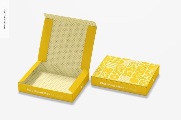 Flat sweet box mockup, geöffnet und geschlossen