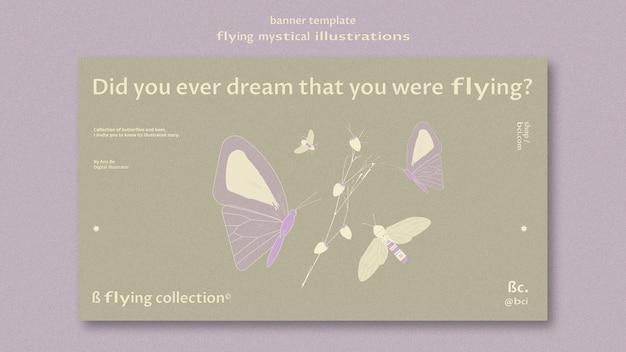 Fliegende mystische bannerschablone