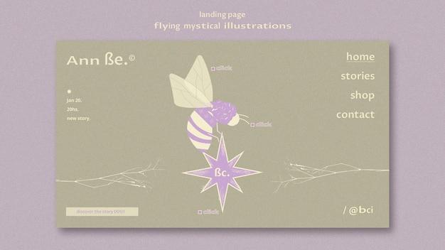Fliegende mystische landingpage-vorlage