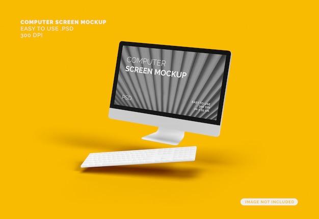 Fliegender computerbildschirm mit tastatur