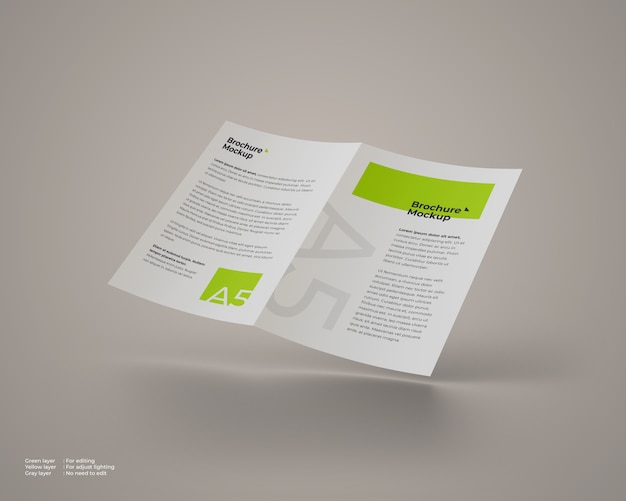 Fliegendes bifold-broschürenmodell