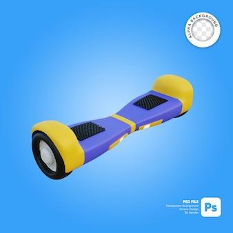 Fliegendes hoverboard 3d-objekt