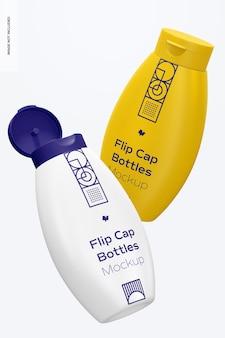 Flip cap bottles mockup, schwimmend