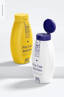 Flip cap bottles mockup