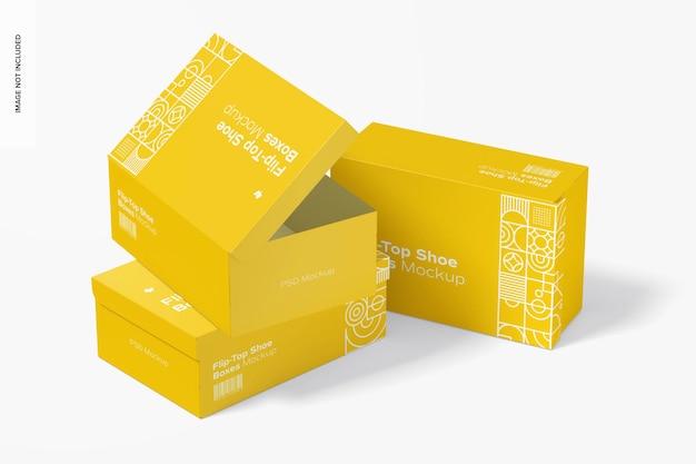 Flip-top schuhkartons modell, ansicht von links