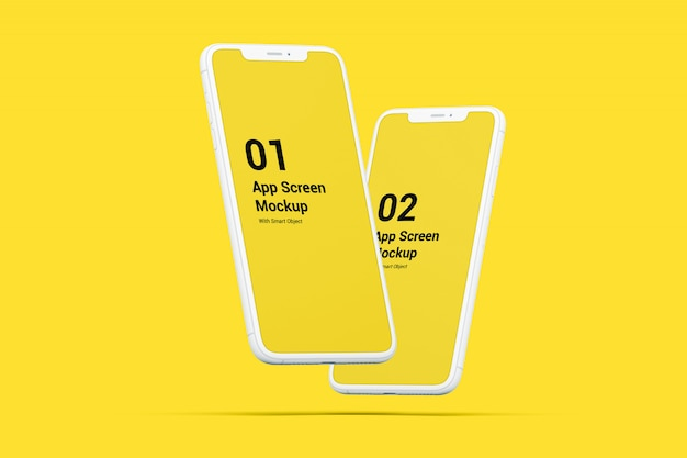 Floated phone mockups
