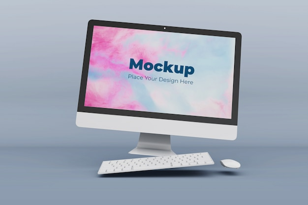 Floating computer mockup design vorlage