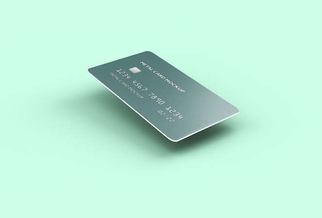 Floating credit bank card mockup isoliert