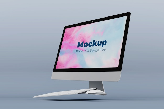 Floating desktop screen mockup design vorlage
