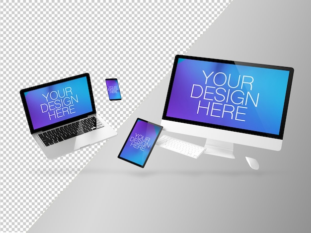Floating devices mockup isoliert