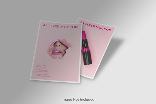 Floating flyer broschüre modell mit schatten