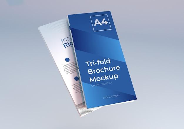 Floating folded trifold brochure mockup