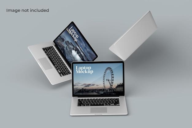 Floating laptop mockup