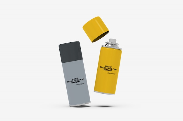 Floating matte spray paint can mockup